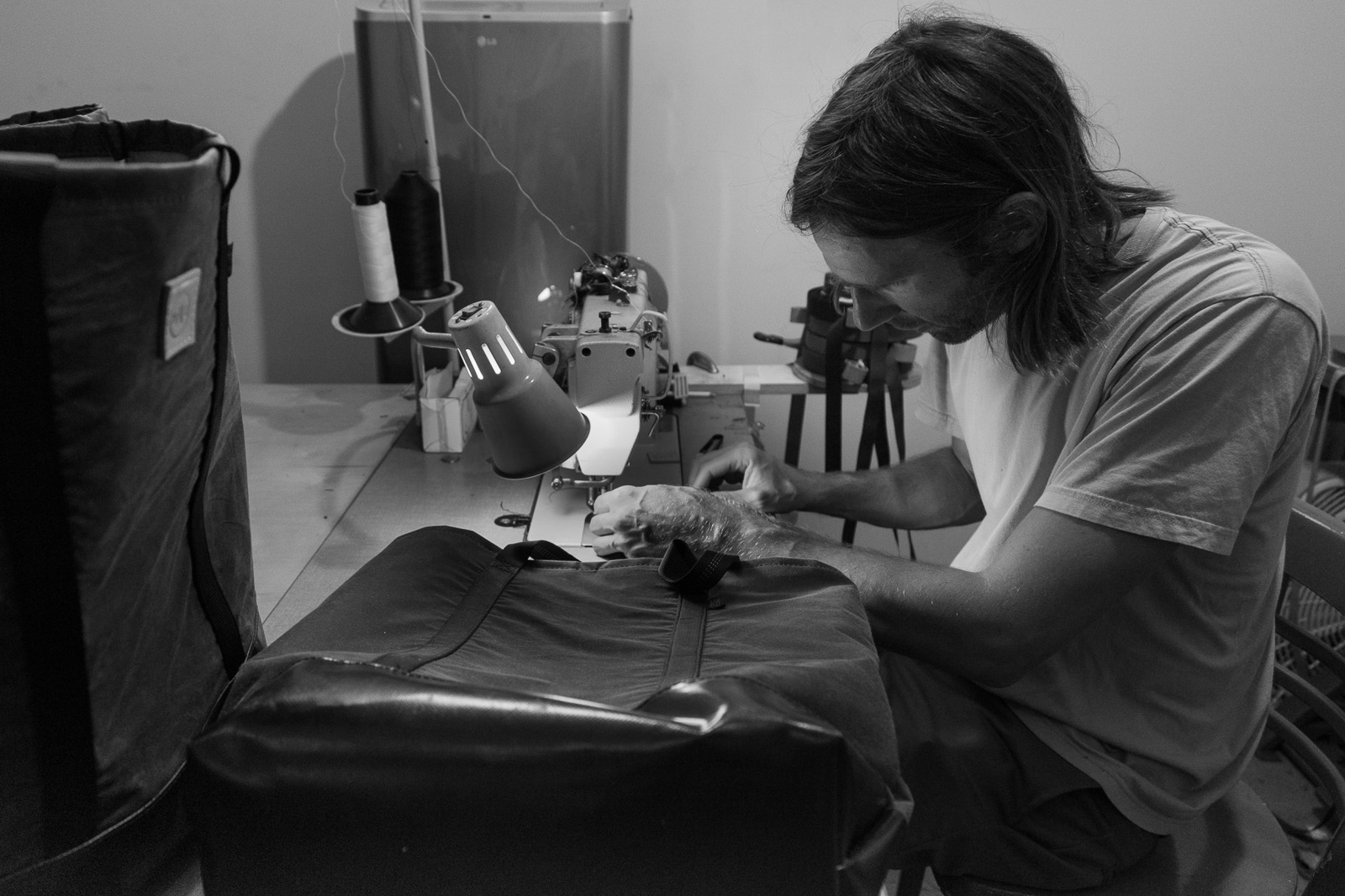 Rob Nelson of Mer Bags works on the Mer + Hand & Eye collaboration.