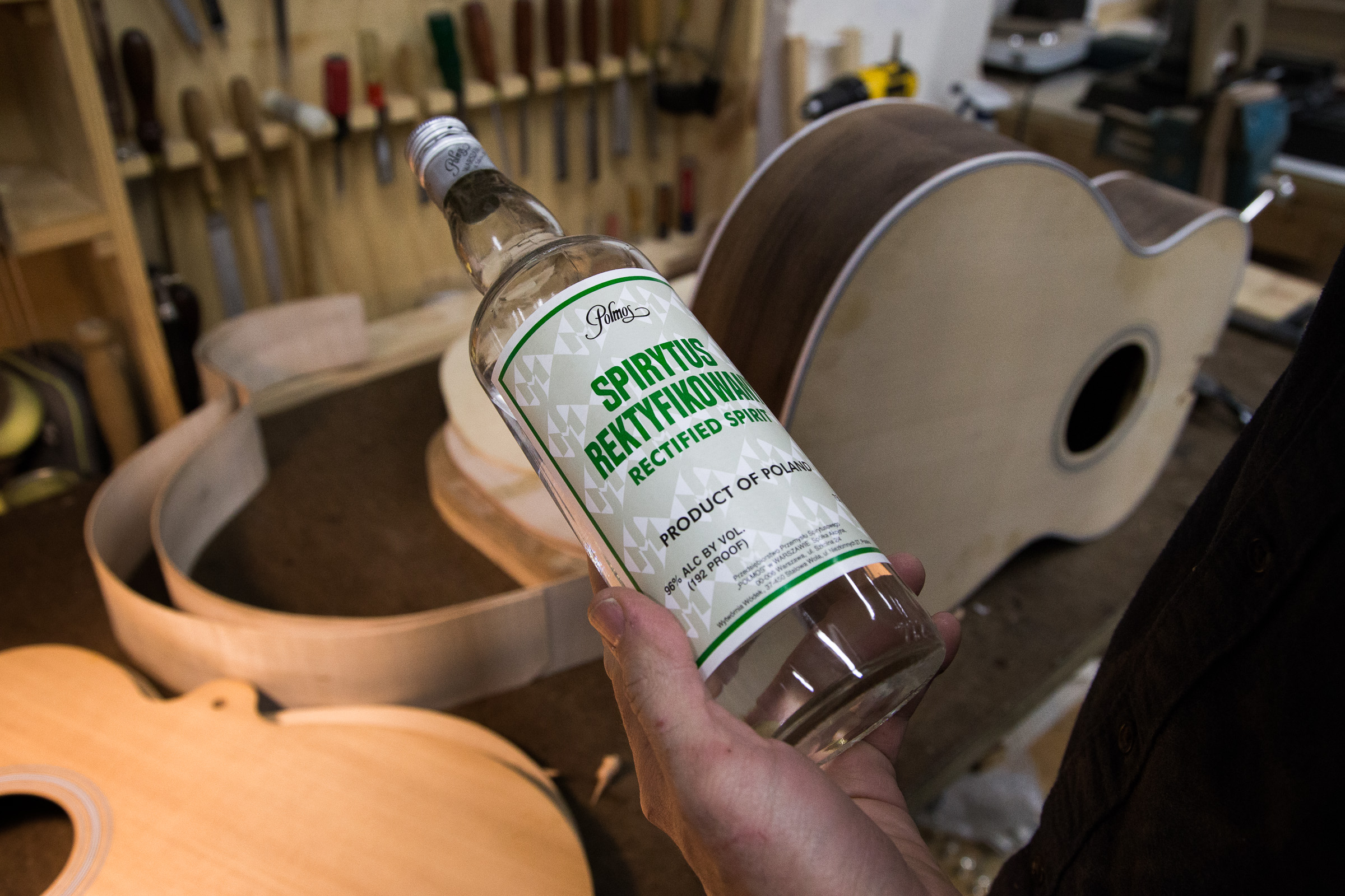 The Secret Sauce: Krugman combines this Polish spirit with shellac to finish his guitars