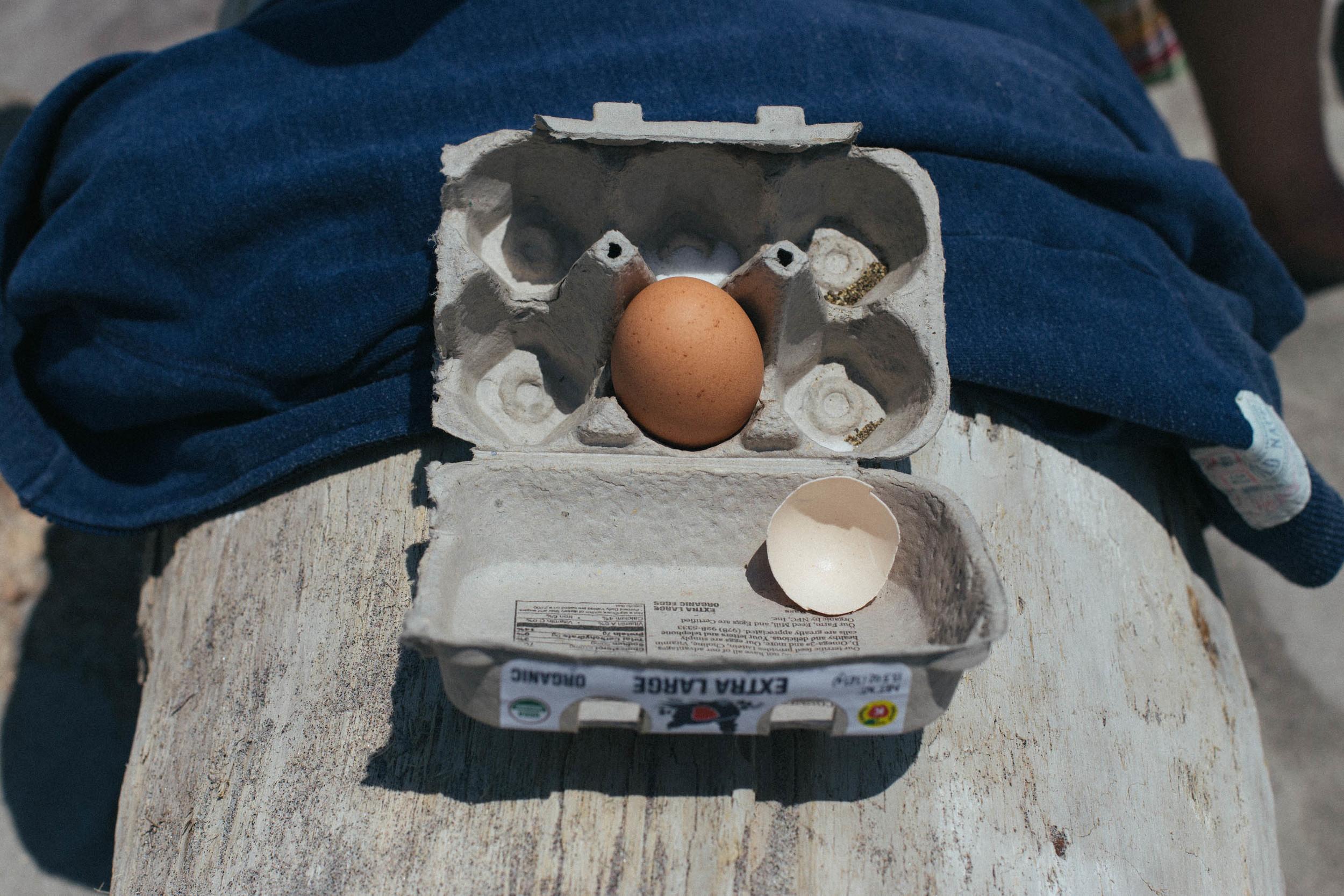 Hard-boiled egg beach transportation kit.