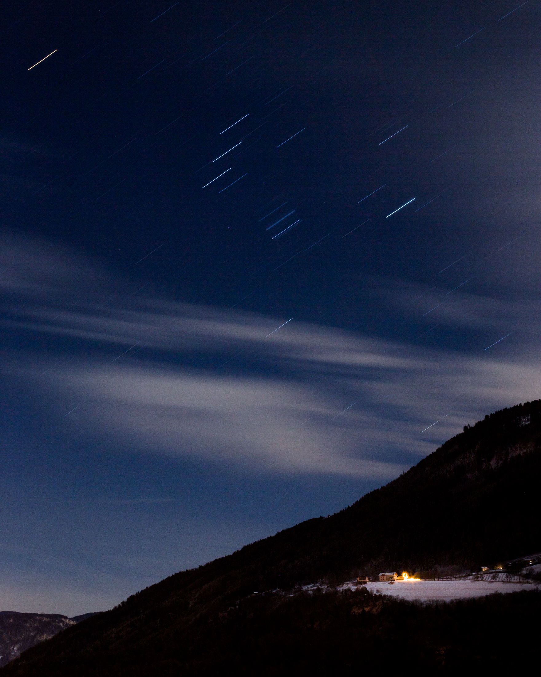 A long exposure for dramatic star trails. ISO 125. f/22. 400 seconds.