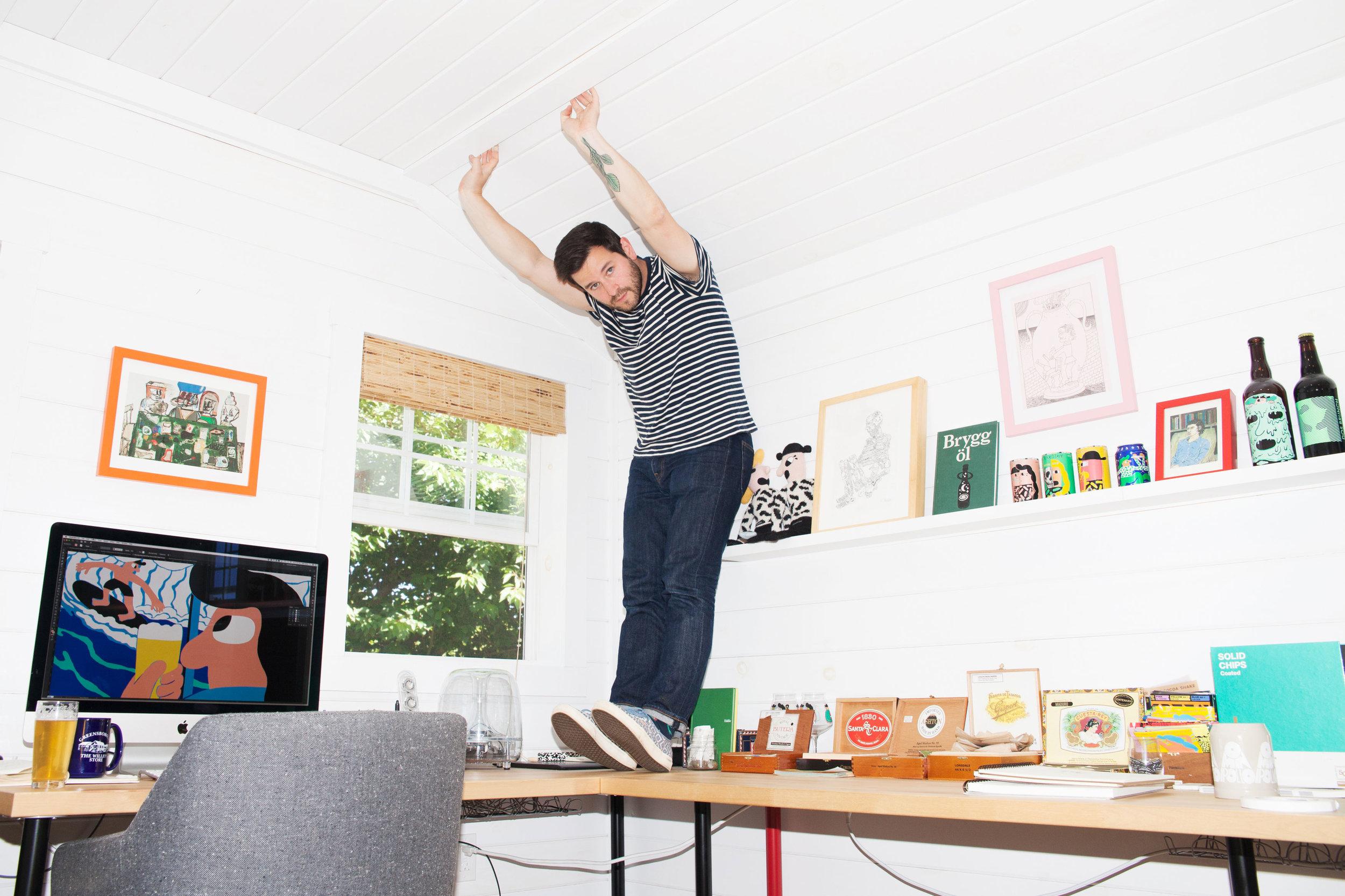 Keith Shore, Mikkeller's art director, in his studio.