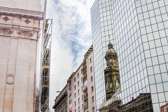 Reflection of the Santiagode CompostelaCathedral which was currently being renovated.