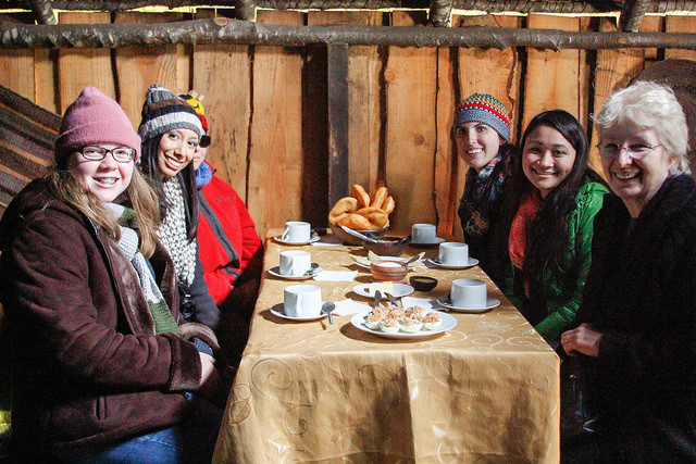 Tribe members welcomed our group with breakfast to make us more familiar with the mapuche custom.