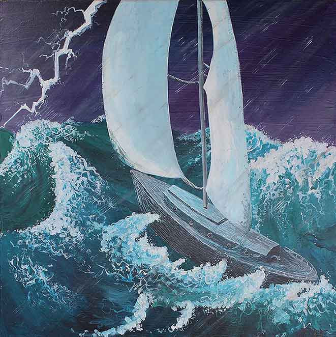 """Storm on The Sound""  24x24in  Currently on Display at Salt House (request for upcoming show)"