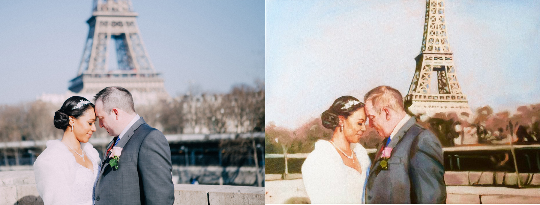 This couple wanted more emphasis on the romance of the Eiffel Tower on their wedding day.