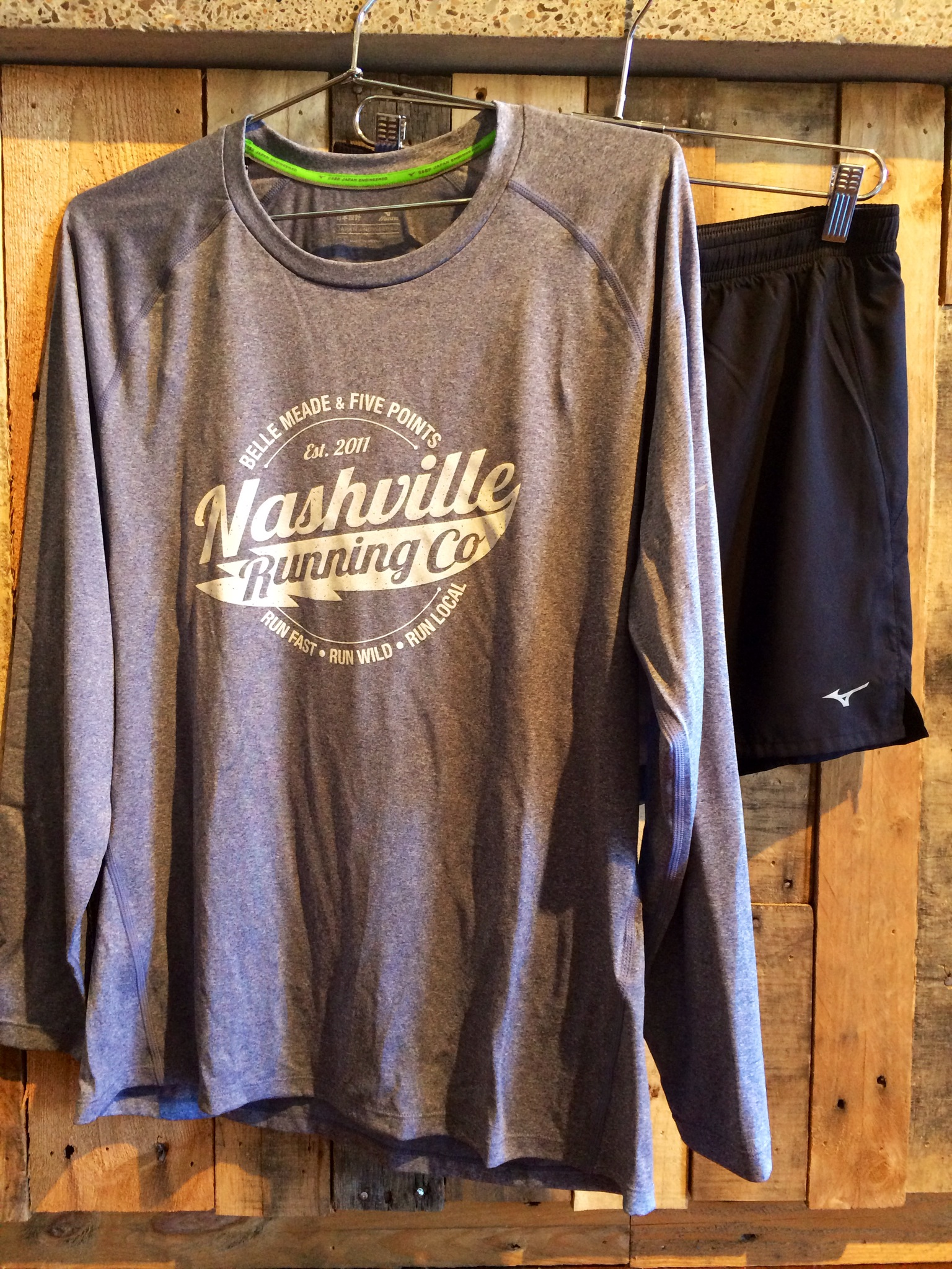 A simple long-sleeve t-shirt is great for warming up on a mild morning. Wear by itself or with a short-sleeve underneath.