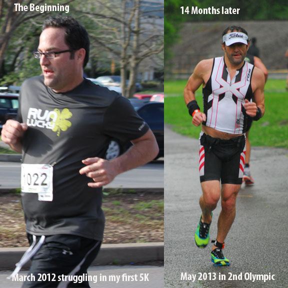 Mike Tarrolly's transformation during the first year of training.