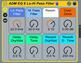 This Audio Effect Rack has a Low and High Pass Filter, Over Drive, Delay, and Reverb.
