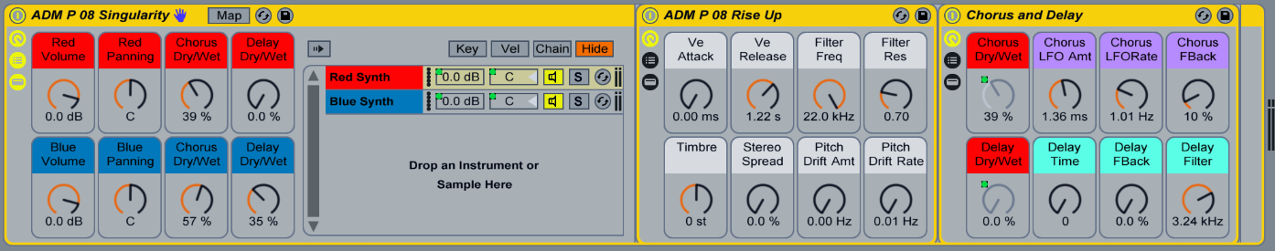 Big Layered Synths! Plenty of color-coded Macro controls to perfectly sculpt your sounds!