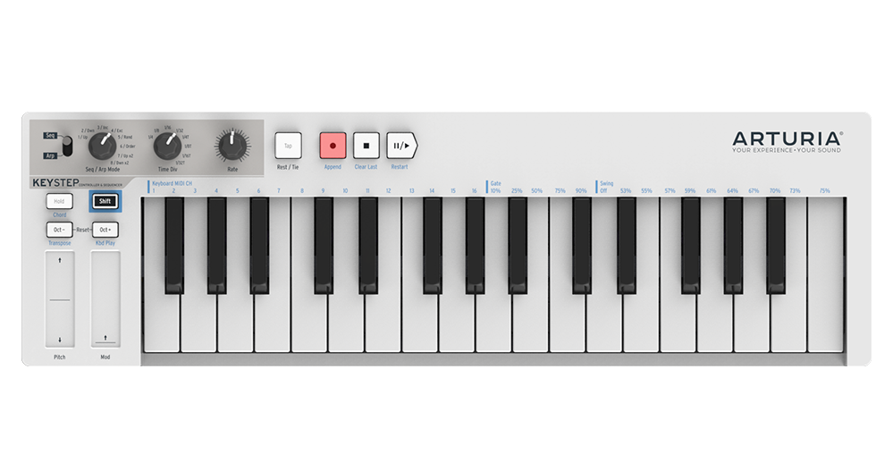 The Arturia Keystep, packed with an arpeggiator,sequencer, and loads of connectivity.