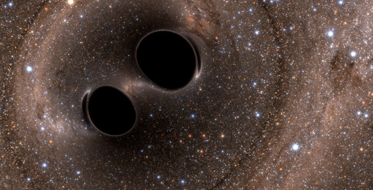 Two Black Holes Collide!  (Image credit: The SXS (Simulating eXtreme Spacetimes) Project)