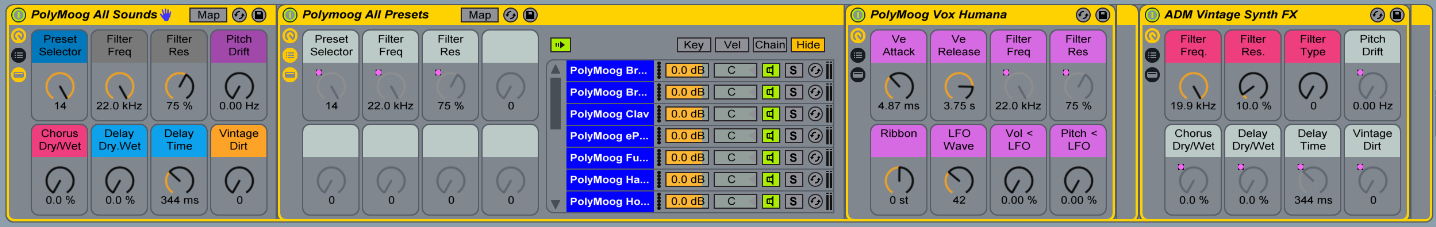 This multi-layered Instrument Rack gives you access to every Polymoog preset and some useful effects, all in one preset.