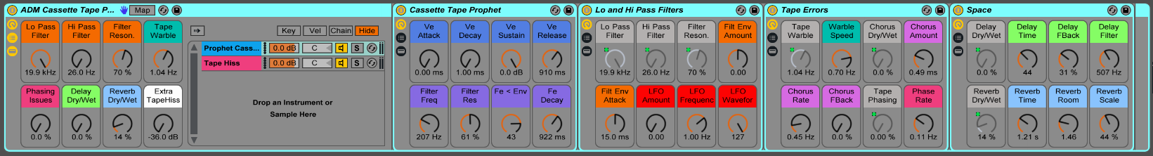 Each of the Cassette Tape Prophet Ableton Live Instruments allow for complete control and customization.