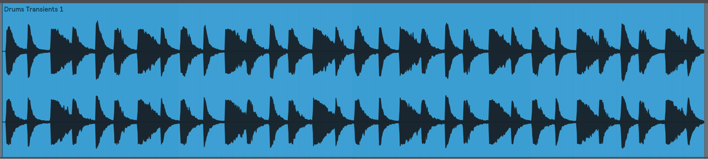 Our drum loop with Transients set to +1. Notice that each hit has more body and takes longer to decay.