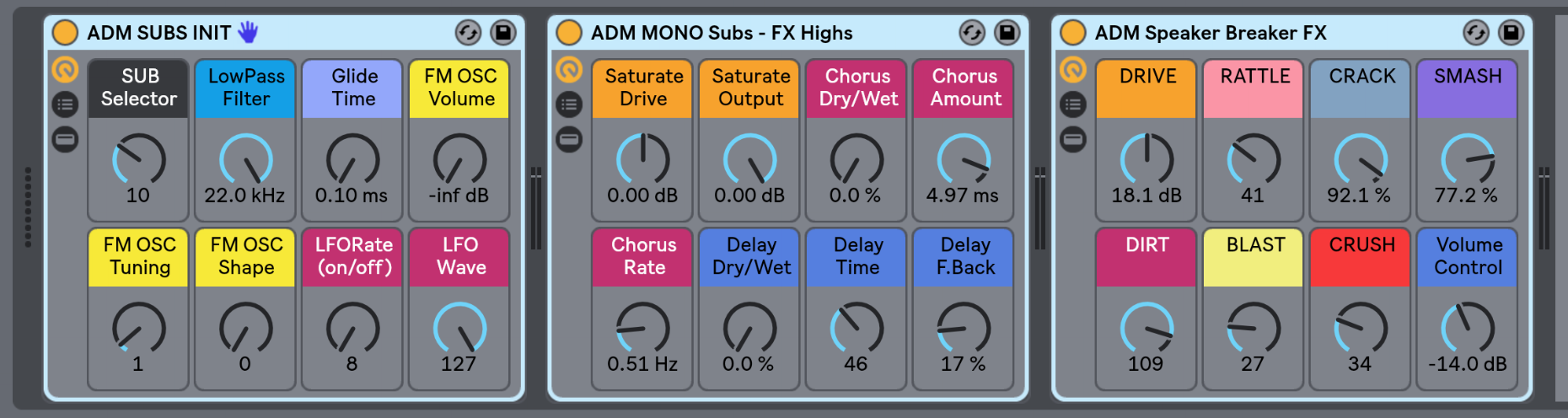 SUBS Instrument Rack and Bass Audio Effect Racks