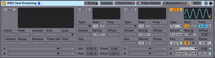 LFO 3 Randomizes the starting point of the sample.