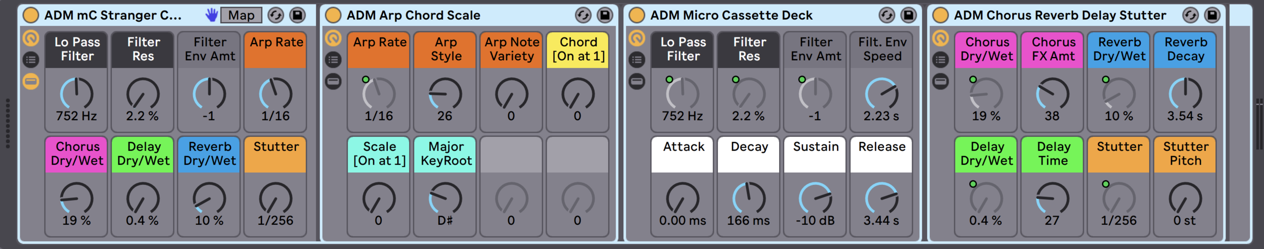 Every instrument of MICRO CASSETTE has Macro Controls for Filters, Arpeggiators, Chorus, Delay, Reverb, and Stutter Effects.