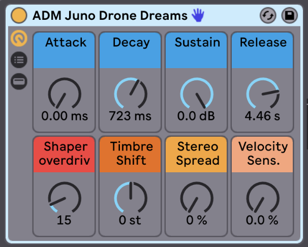 ASDR, Saturation, Spread, and Velocity   Shape the instrument over time with attack, decay, sustain, and release. Add some overdrive. Timbre Shift affects the way the samples are distributed across the keyboard, you can get some drastic changes in texture and sound with this one Macro alone. Give your instrument a wider stereo sound with Stereo Spread. And control the instruments sensitivity to incoming MIDI velocity, perfect for adjusting the dynamics of your performance.