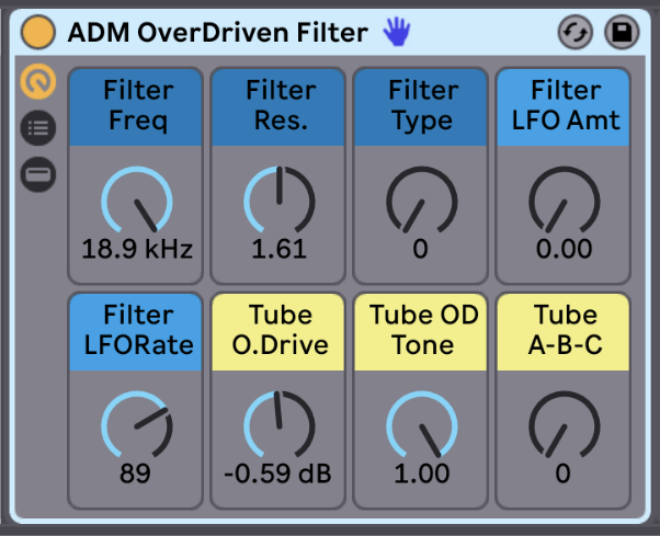 Overdriven Filter   Sculpt the sound with a variety of different filter types. Add LFO modulation to the filter frequency. Then give your filter an overdriven tube distortion.