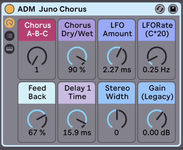 Emulation of the Juno's Famous Chorus   This is an emulation of the Juno's characteristic chorus. The Juno comes with two different choruses, but the emulation has three! The third is the most extreme and is more like a ring modulator. You can also adjust the stereo width after the chorus and add or subtract any extra gain created by the chorus effect.