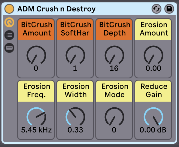 Crush n Destroy   In case things are a little too clean for you, you can add anything from subtle distortion and noise to extreme destruction and chaos!