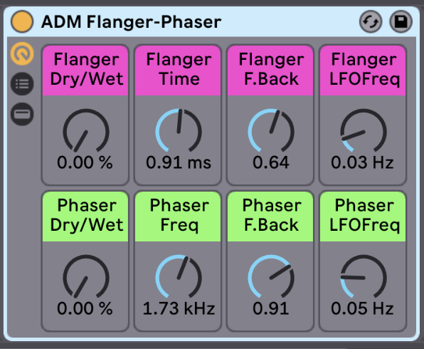 Flanger and Phaser   The Flanger and Phaser rack can really transport the instruments into outer space! Try just a subtle amount for a little extra space in your mix, or go all out and see what happens. This effect rack adds some really nice texture to the distorted sounds of the Crush n Destroy Rack, try them together.