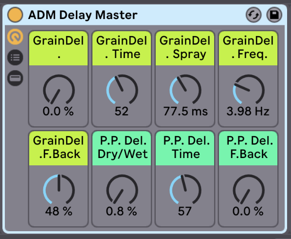 The Delay Master   This effect rack combines a Grain Delay with a Ping Pong Delay. You can get some very interesting textures from the Grain Delay, and then repeat them and layer them with the Ping Pong Delay.