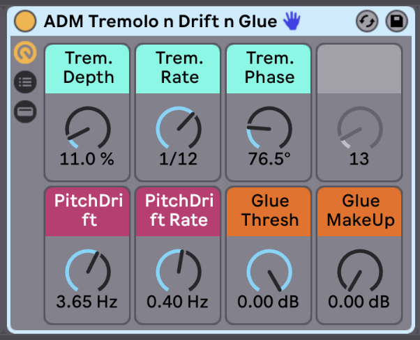 Tremolo n Drift n Glue   Have fun messing around with volume modulation using the tremolo controls. You can get traditional tremolo effects to create tempo-synced volume chops or play around with the Trem. Phase control to get some really exciting stereo movement. The Pitch Drift controls recreate the pitch drift on old analog synths. You can add a lot of character to your instrument with just a subtle pitch drift. Try using a low amount (up to 2Hz) with a slow rate (up to .5Hz) for subtle character. Or go all out and recreate a broken old analog synth. Finally, the Glue Compressor is used to tighten everything up and add some extra volume.