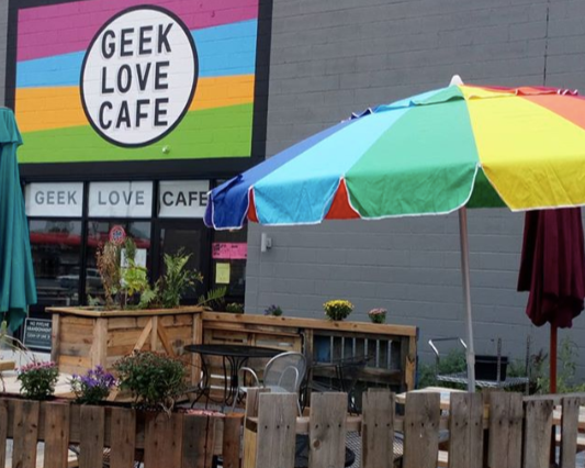 #4 - Geek Love Cafe2-for-1 Drink Specials: Draft Beers, Ciders, Kombucha, or Wines by the Glass can be enjoyed alongside an enthralling book on the sun-deck style patio of this beloved community space.