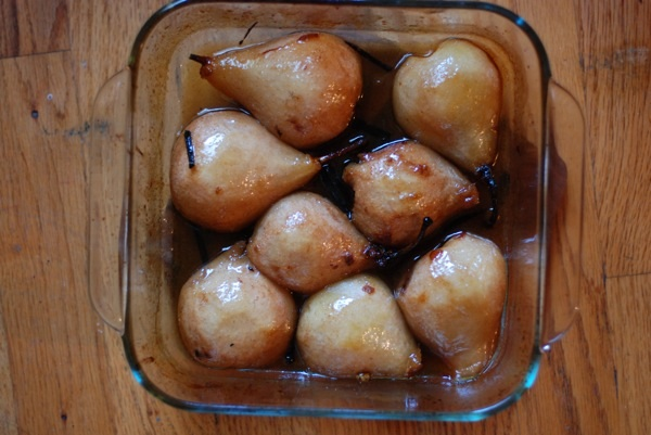 halfway cooked pears