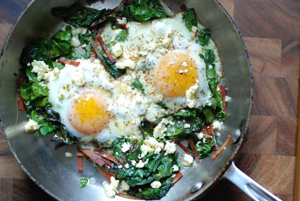 fried eggs and greens 2