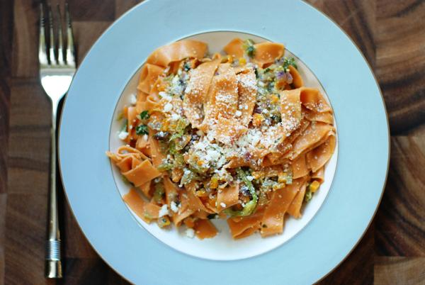 pappardelle with squash blossoms
