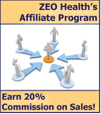 ZEO Health's affiliate program allows web marketers to make 20% commission on sales placed directly under their links.