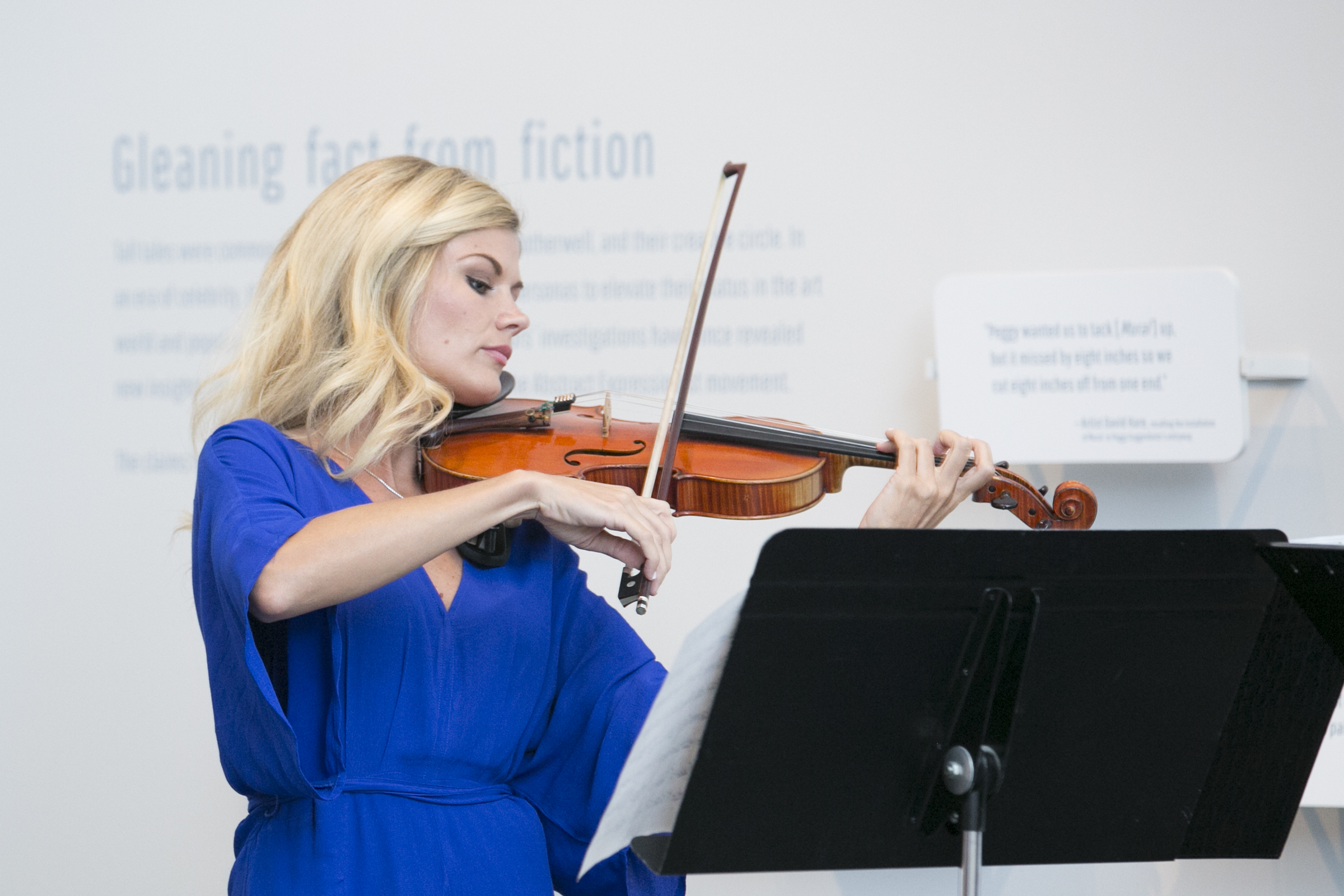 """On August 10, 2017, Sherèe Lutz of the Contemporary Art Department performed with Uptown Violins to highlight the musical connections to Abstract Expressionist legends Jackson Pollock and Robert Motherwell  in the exhibition, """"Pollock and Motherwell: Legends of Abstract Expressionism,"""" on view in Gallery L8 at the Nelson-Atkins Museum of Art, Kansas City, MO. The exhibition is on view from July 8 through October 29, 2017. Photographer / Ashley Elwell"""