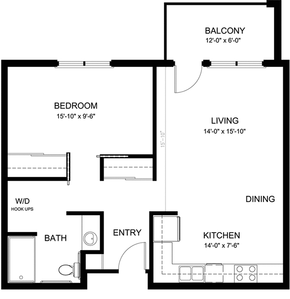 Typical One Bedroom Apartment in Buildings 1,