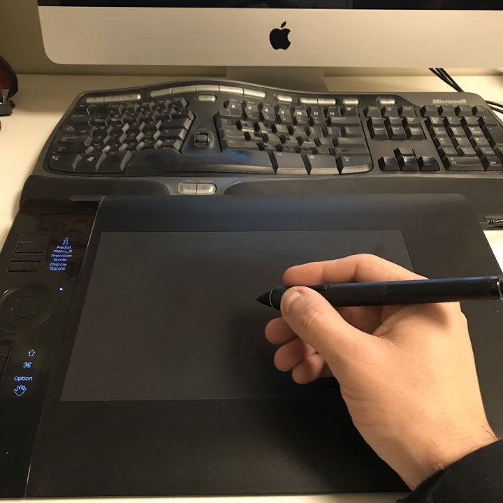 My Wacom Intuos 4 tablet. It's quite old and will probably need replacing for sure.   The lack of multitouch is now wearing thin on me.