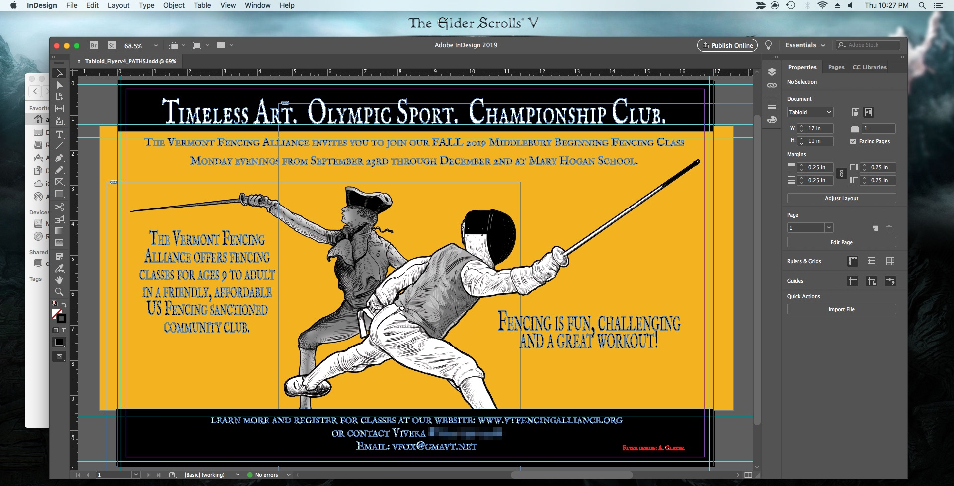 Adobe InDesign CC which I swear by when it comes to document layout design ( and yes, that's the latest flyer I've done for the fencing club ).