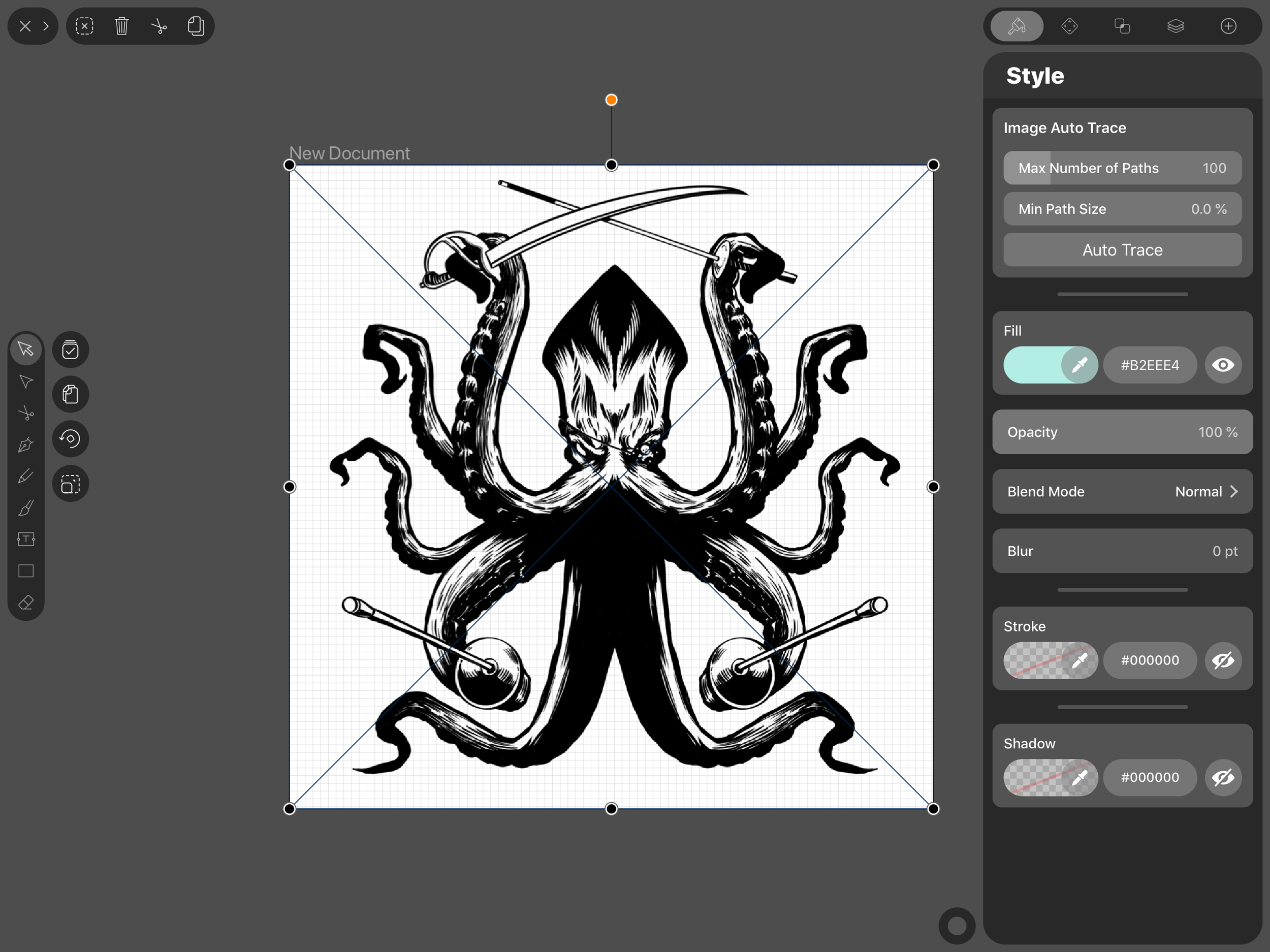 The original image of the pirate kraken for our fencing club's mascot done on Procreate. I imported this file to Vectornator to test out the Auto Trace which is seen on the above right.