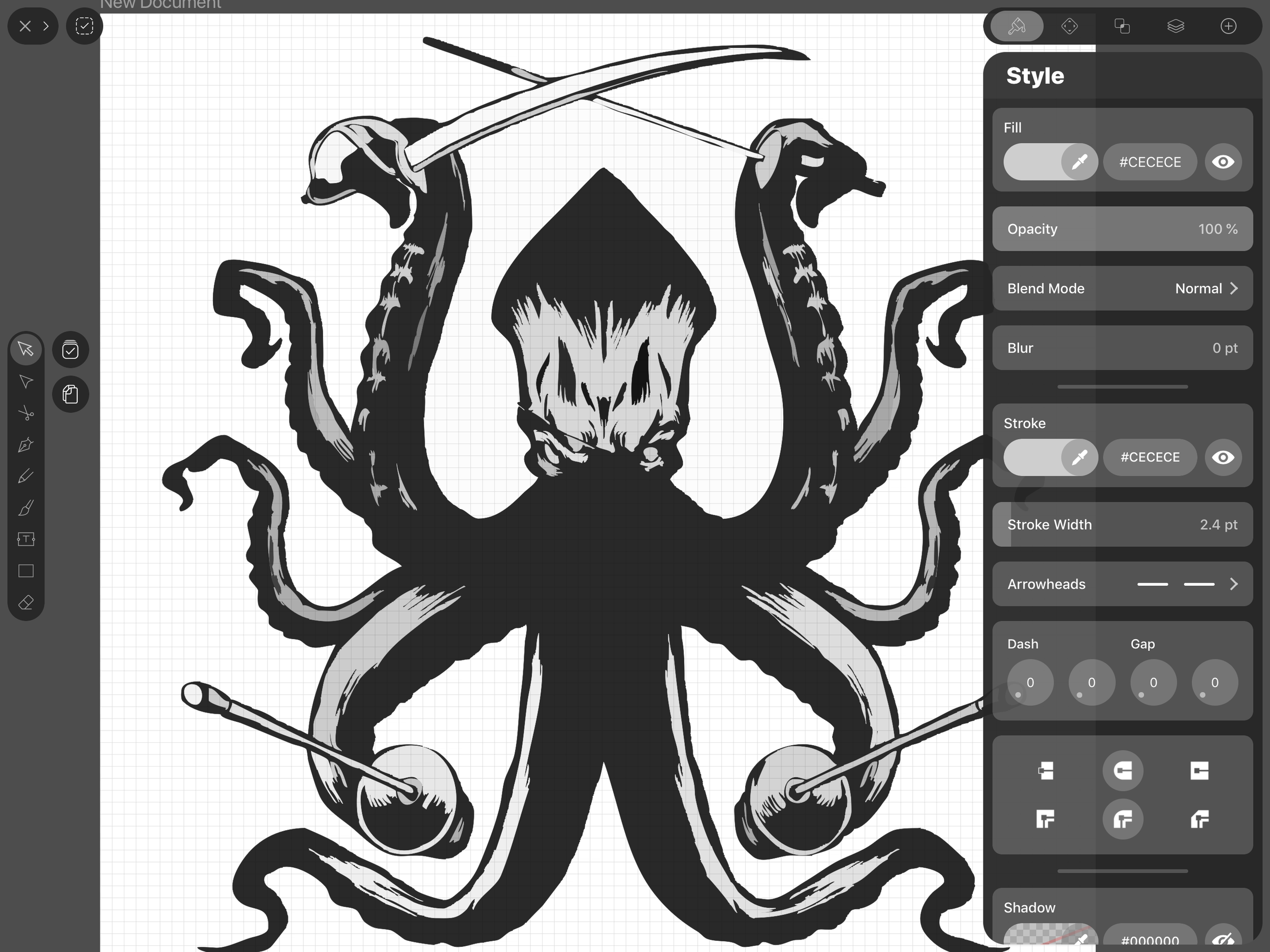 The kraken's image traced. One can see that some elements are missing due to lack of detail. It's a matter of adjusting to get the right amount to retain the look of the original.