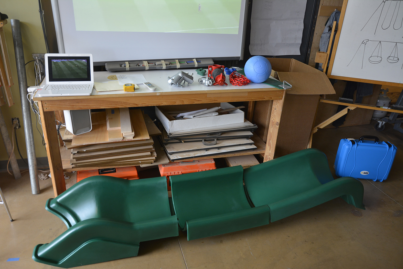 Some of the playground parts going with us.