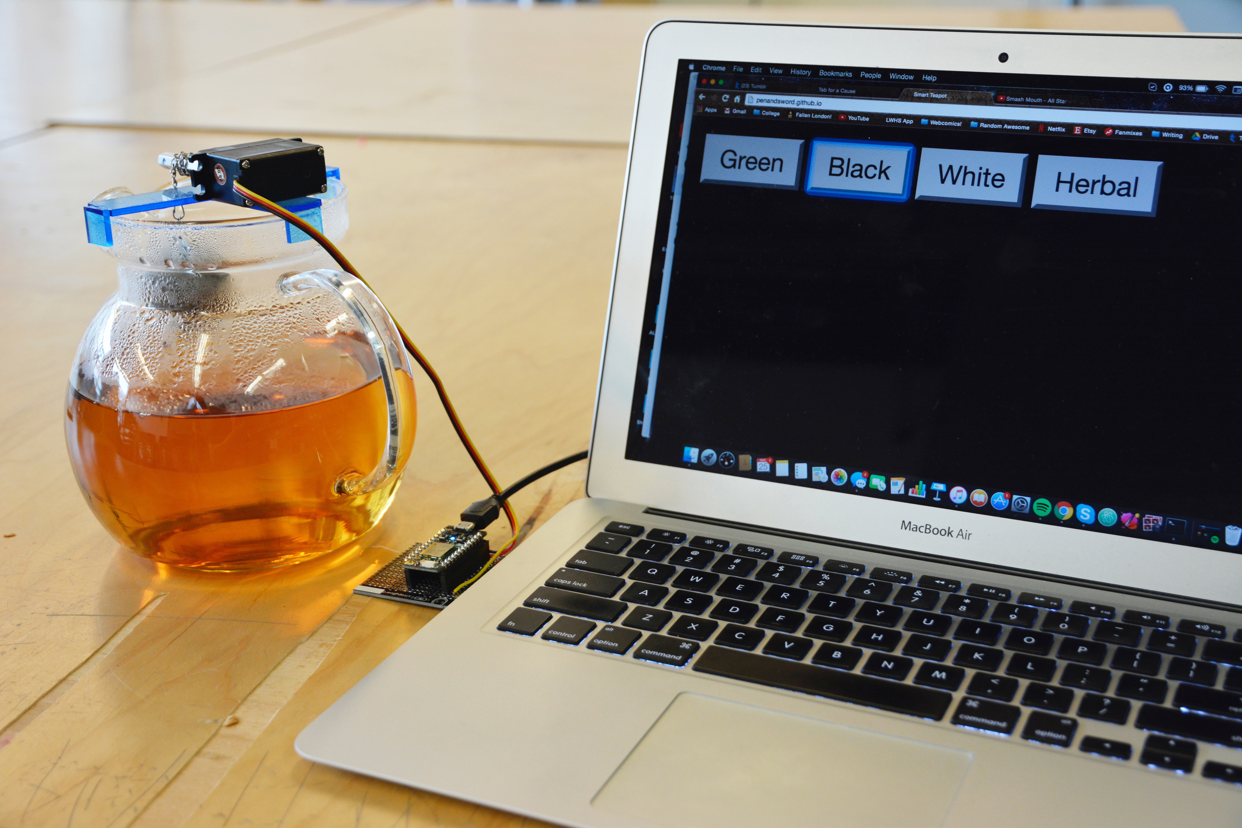 Lois's Internet-controlled tea infuser. The steep time can be adjusted via a web app.