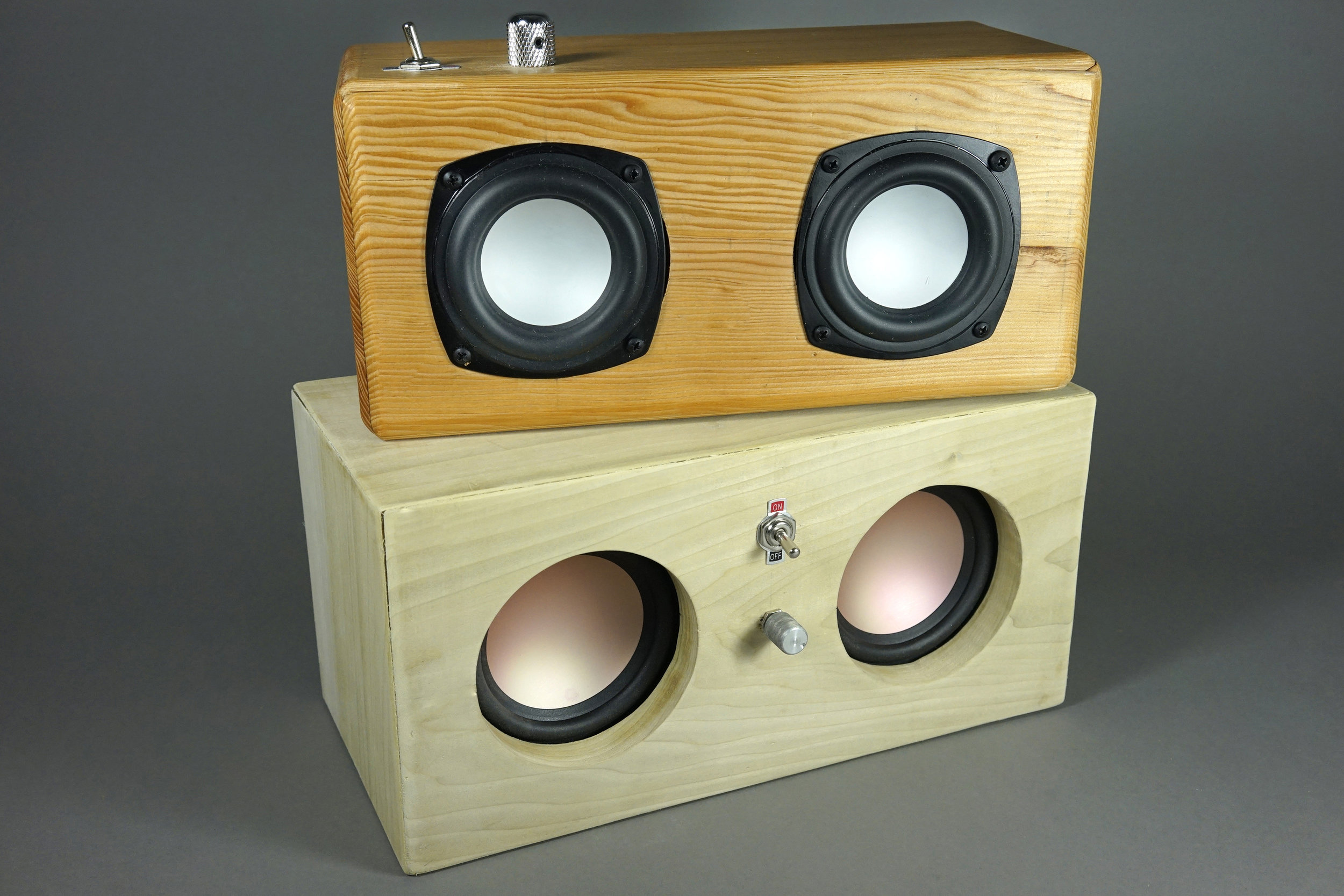 Brittney and Oscar's solid wood amplifiers.