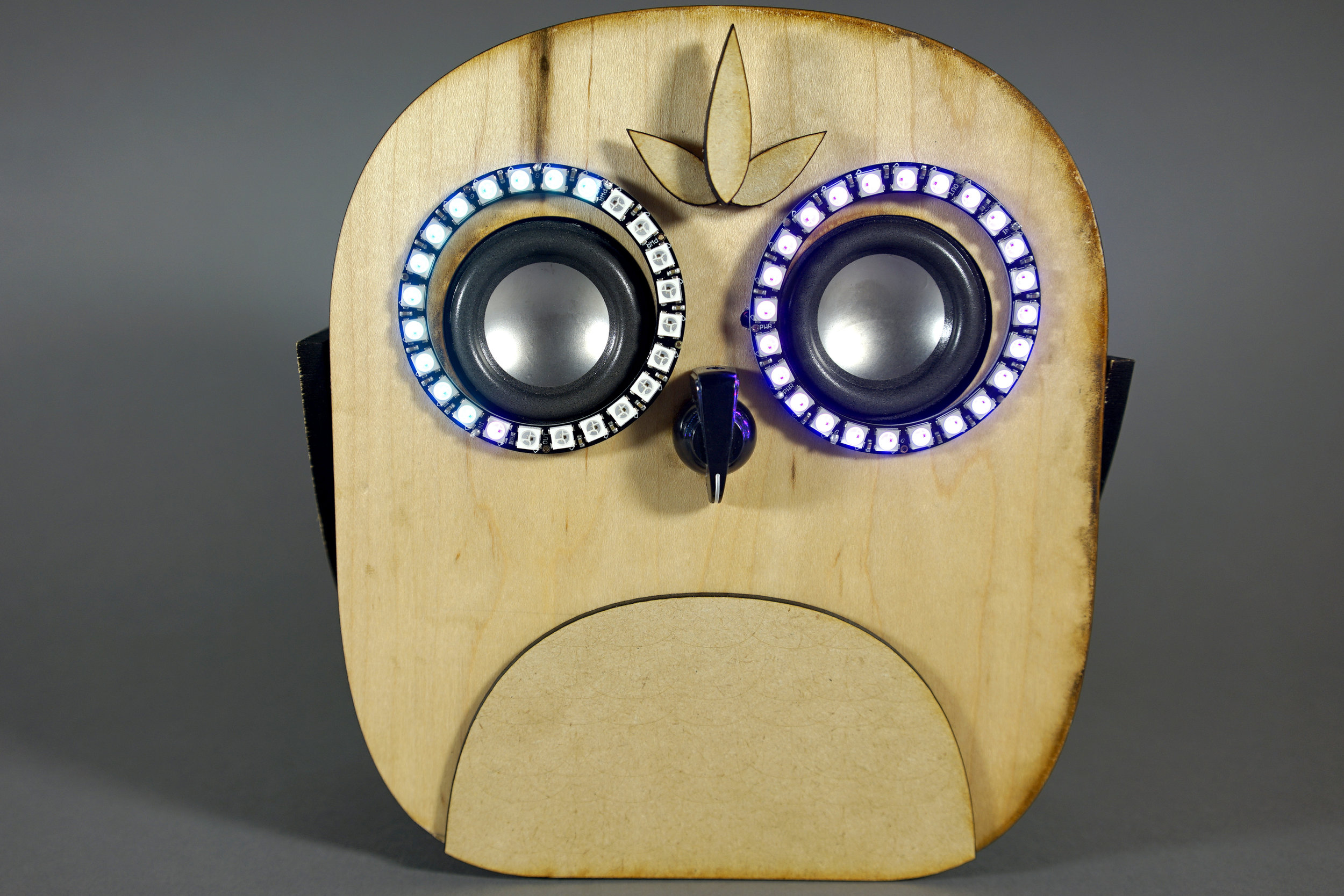 Jasmine's owl amplifier with bluetooth, beak as volume controller and audio-responsive eyes.
