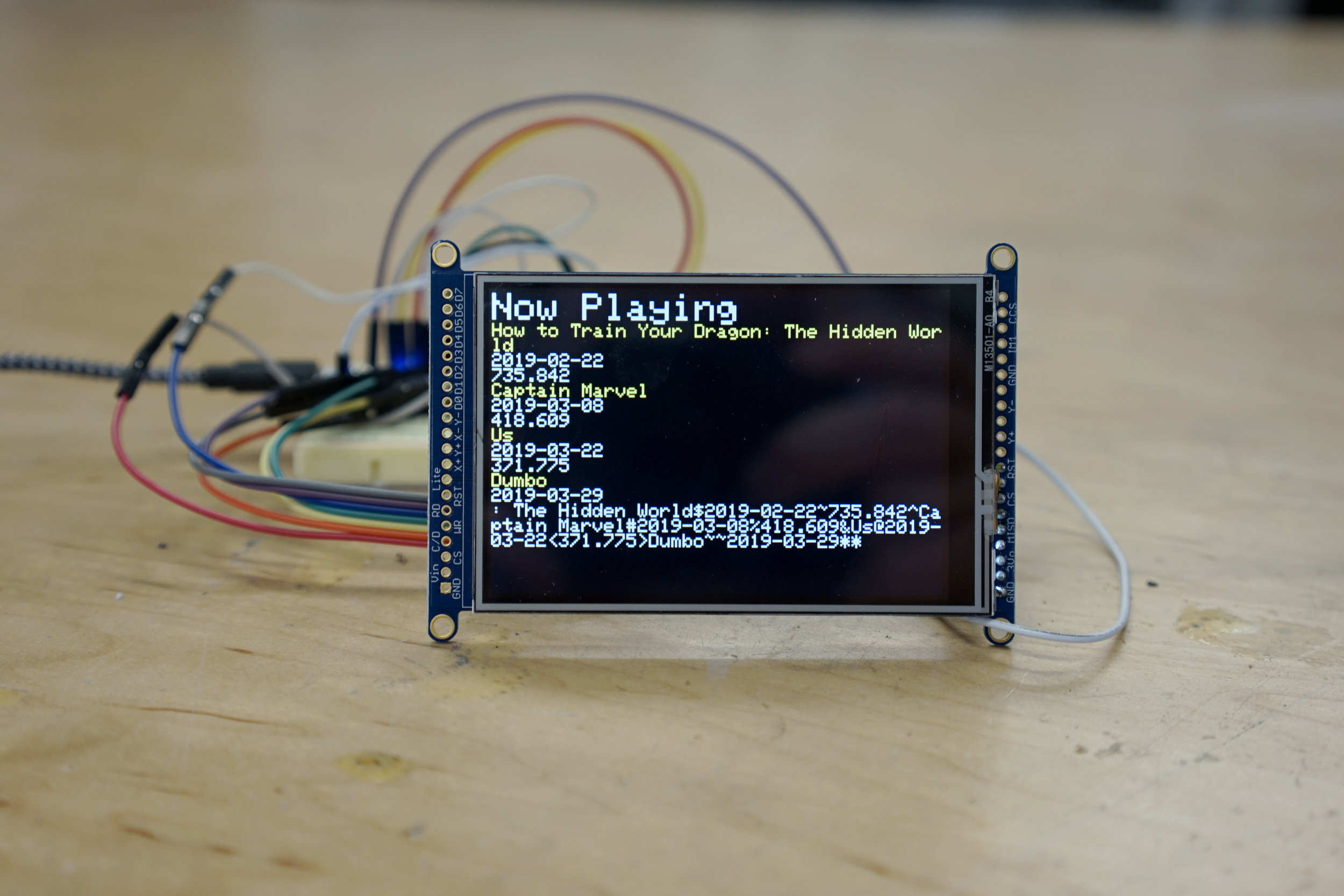 Here is a pair of display-based IOT projects. The one above uses an API to display local movies and average audience review scores. The one below gives bus times and utilizes a funny ASCII representation of a Muni bus.