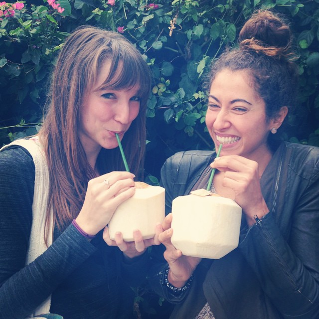 Sweaty and hydrating with raw coconuts post dance class with my fellow pioneer from Utopia, Dedeker. And we ate the meat too!