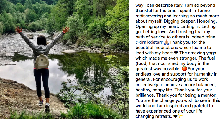 Instagram Testimonial for Dr. Nikki Starr by Maria C. who attended Damanhur Spritual Retreat