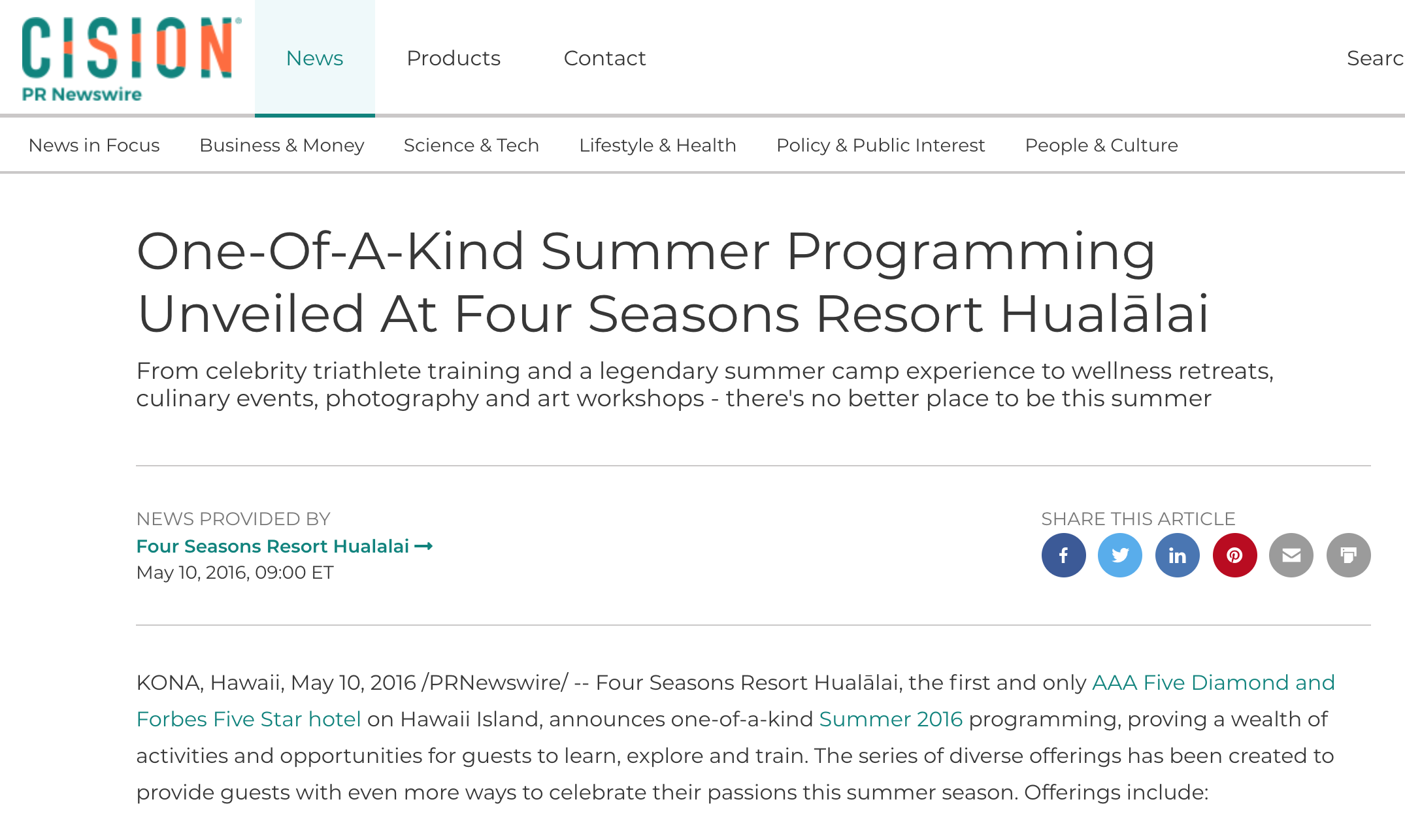 KONA, Hawaii, May 10, 2016 /PRNewswire/ --       Four Seasons Resort Hualālai, the first and only    AAA Five Diamond and Forbes Five Star hotel    on Hawaii Island, announces one-of-a-kind    Summer 2016    programming, proving a wealth of activities and opportunities for guests to learn, explore and train.