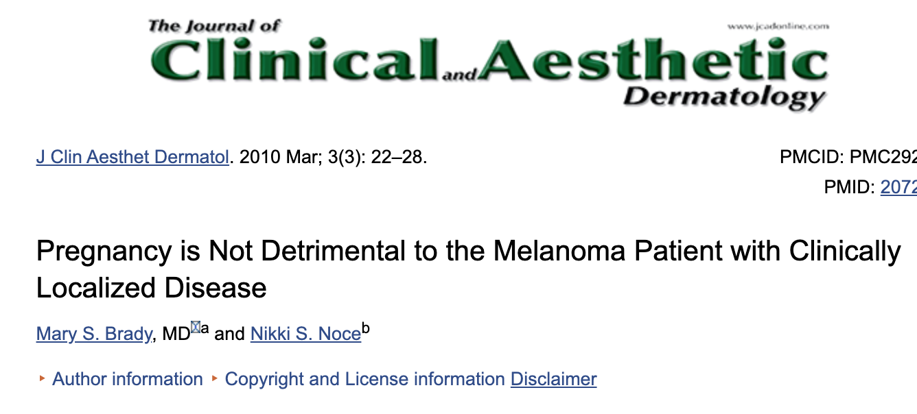 March 3, 2010    Pregnancy is Not Detrimental to the Melanoma Patient with Clinically Localized Disease