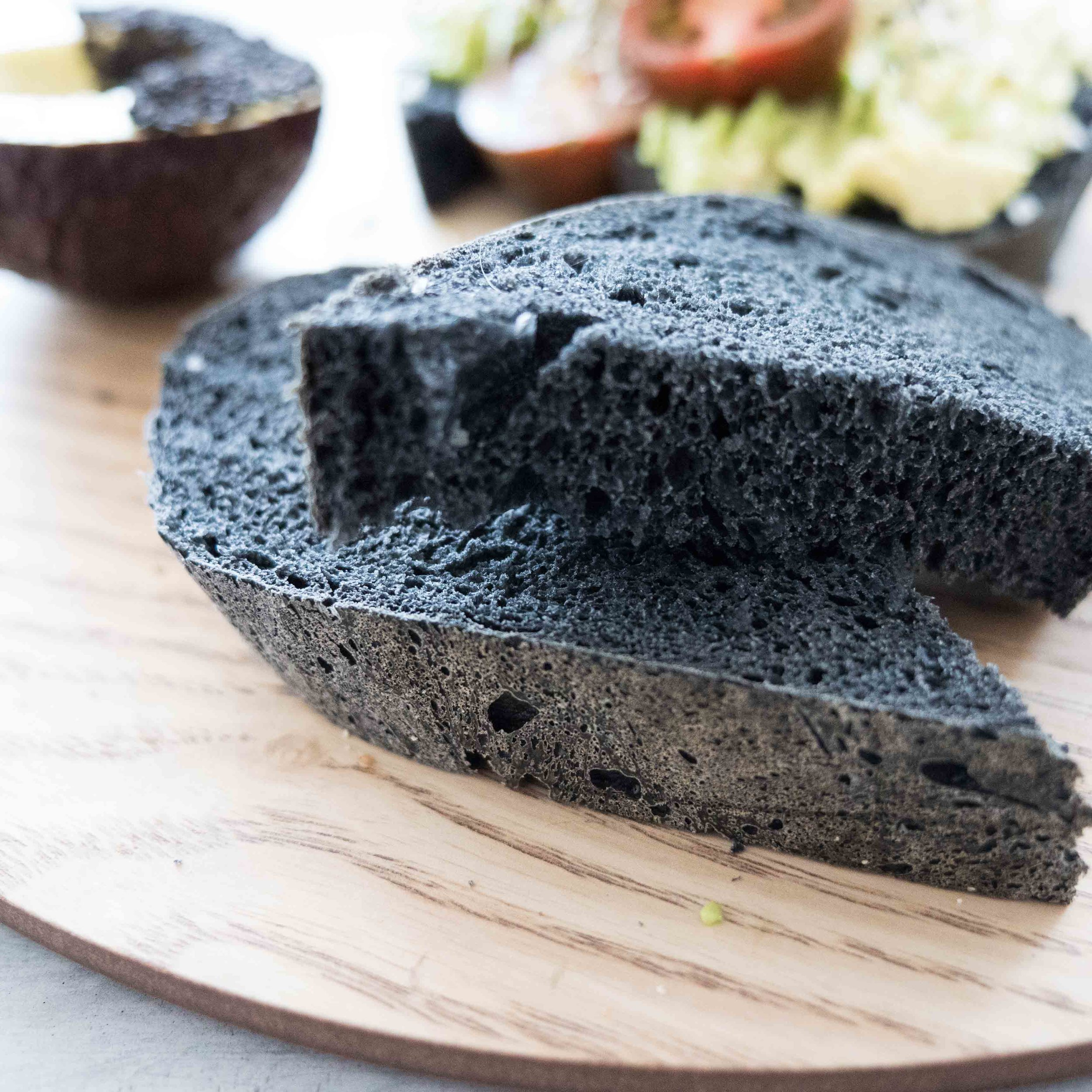 Charcoal bread made in the Thermomix