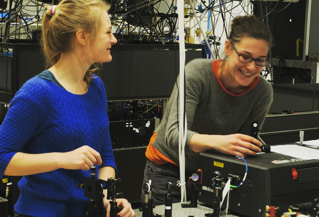 Megan Stanley (PhD 2017) and Claire Le Gall building an experiment in the QOMS labs. We are always looking for other talented students and researchers to join us, so do contact us if you are interested!